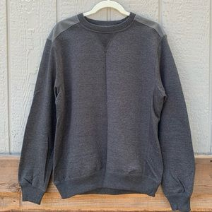Vintage gray crew neck pullover w/suede patches